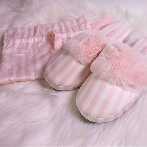 Victoria Secret Pink Strippe Slippers